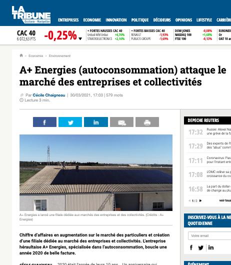 A+ énergies dans le journal économique La Tribune (Revue de presse)
